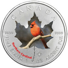1 Oz plata Maple Leaf color 2017 Canadian birds Northern cardinal pájaros Canadá