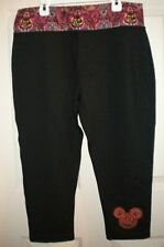 NWOT WOMENS DISNEY PARK SIZE L BLACK PULL ON PANTS, MICKEY MOUSE WAIST & FRONT L
