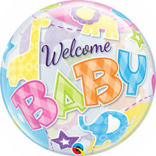 """NEW BABY BALLOON 22"""" COLOURFUL ANIMALS WELCOME BABY SEE THRU BUBBLE BALLOON"""