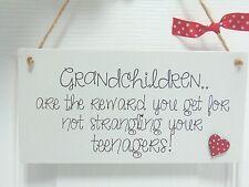 Handmade Wooden Plaque -  Grandchildren are the reward.. Gift Nana Grandparents