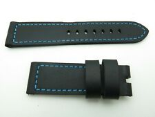 Panerai BLACK calf skin  leather strap 24mm/22mm TANG BUCKLE ONLY  125mm/75mm