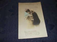 ANTIQUE POSTCARD BIRTHDAY GREETINGS POEM 1912 HANDPAINTED REAL PHOTOGRAPHY