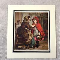1865 Viktorianisches Mädchen Kind Kleines Rotkäppchen Antik Farbe Lithographie