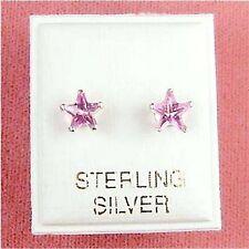 Sterling Silver - 6mm Star CZ Rose Zircon Earrings (SE149)