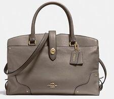 NWT! COACH MERCER Satchel Carryall Leather Handbag Purse Bag LARGE Fog $450