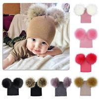 Newborn Baby Warm Wool Knit Beanie Dual Fur Pom Bobble Beret Hat Crochet Ski Cap