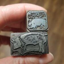 2 Vintage Printing Letterpress Printers Blocks Pig Animal