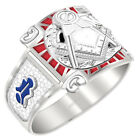Customizable Men's 0.925 Sterling Silver or Vermeil Blue Lodge Master Mason Ring