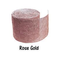 "4.5"" x 10 yards Rose Gold Diamond Mesh Wrap Roll Rhinestone Crystal Ribbon"