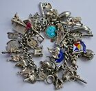 Georg Jensen vintage solid silver charm bracelet & 35 charms,rare,moving, 109.8g