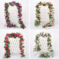 UK Artificial Fake Silk Rose Flower Ivy Vine Hanging Garland Home Floral Decor