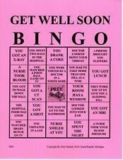 5 Get Well Soon Bingo Cards. Play BINGO looking around your hospital room.
