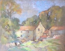 British School Original Pastel Drawing Farm House & Cattle Landscape Scene
