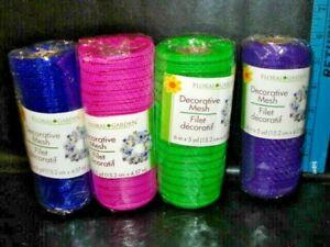 """4 Floral Garden Decorative  Mesh 6"""" BY 5 yd Purple,PINK,DARK BLUE,GREEN-NEW"""