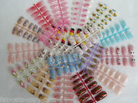 5,10 PACKS PAINTED 3D FULL FALSE FRENCH NAILS MULTIPLE DESIGNS & SIZES 3g GLUE
