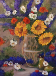 Aceo colorful vase of sunflowers baseball card size reproduction print