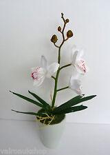 ATTRACTIVE FAUX SILK WHITE ORCHID IN SMALL POT