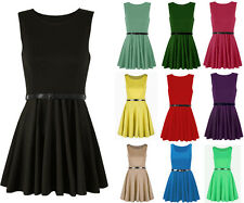 1s Womens Ladies Belted Sleeve Less Flared Franki Party Skater Dress size 8-26