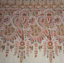 Antique English Paisley Challis Wool Fabric Trim #2~ Apricot Green Brown Blue