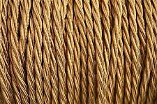 1 METER OLD GOLD SILK COVER 3 CORE LIGHT FLEX WIRE BRAIDED TWISTED LAMP CORD B16