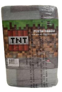 "Minecraft Plush Throw Blanket TNT 53""x53""  Gray/black/orange"