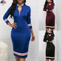 ✅Womens Bodycon Zip Dress Ladies Long Sleeve V Neck Party Pencil Midi Dress USA
