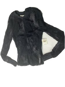 Free People Black Lace Top Long Sleeve Size Small NWT