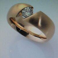 SPANNRING  Diagonal 585 Gold 0,33 carat Brillant  Handarbeit  Alle Ringgrößen