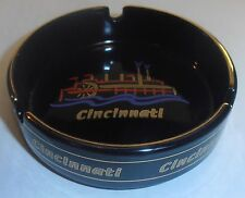 "Wholesale Lot of 12, 4"" Cincinnati Ohio Black Ashtray, River Boat, by City, NEW"