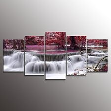 Canvas Print Framed 5 Panels Red Dreamlike Waterfall Painting Wall Art Picture