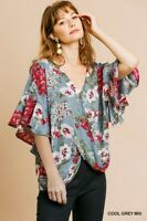 UMGEE Floral Print Ruffle Sleeve Top Size SML & Plus Size XL 1X 2X