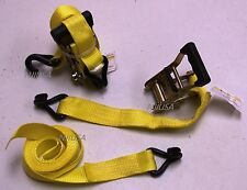 "2x Ratchet Tie Down Straps Cargo Truck Dual J-Hooks Heavy Duty 15' x 1.5"" Yellow"