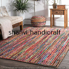 Home Living Bohemian Braided Jute & Cotton Rug Rectangle 4x6 Feet Floor Area Rug
