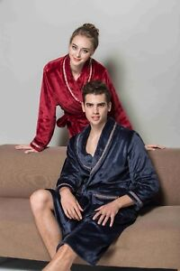 Luxury Men Women Thermal Coral Fleece Dressing Gown soft Bath Robe Lounge Gown
