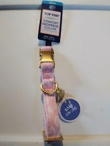 "Top Paw Dog Collar Pink Lemon Comfort Neoprene Collar Small Adjustable 10""-14"""