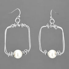 Rhodium Silver Wire Square Shaped White Pearl Dropped Fish Hook Style Earrings