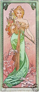 Spring 1900 Alphonse Mucha Vintage Art Nouveau Rolled Canvas Print 17x34 in.