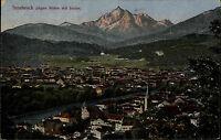 Innsbruck Tirol franierte Postkarte 1921 Panorama gegen Süden mit Serles Berge