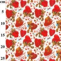 Teddy Bear Red Love Heart & Roses 100% Cotton Craft Fabric Material Metre