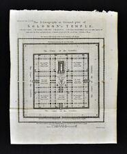 1801 Thomas Condor Map Plan Solomons Temple Jerusalem Israel Old Testament Bible