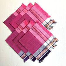 Fringe Napkins Set 6 Purple Pink Multi Strip 45x45cm Handmade Organic Cotton NEW