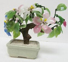 Vintage Oriental Asian Bonsai Tree Jade Agate Glass Signed Floral Sculpture