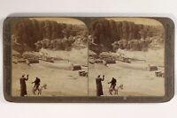 Egitto Tebe Tempio Archeologia 1902 Foto Stereo Vintage Citrato