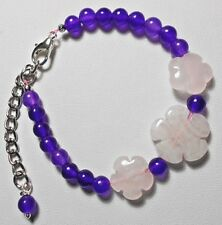 "Rose Quartz + Purple Quartzite beaded 7"" bracelet + extender chain"