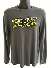 Fox Thermal Long Sleeve Shirt, Mens Large Slim Fit, Gray With Yellow Graphics