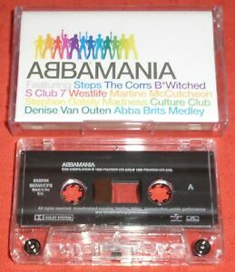 ABBAMANIA - UK CASSETTE TAPE - VARIOUS ARTISTS - ABBA SONGS (MADNESS/STEPS/ETC)