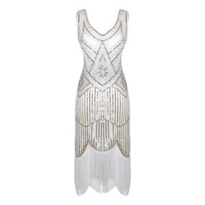 Women's Shiny Beaded Fringed Tassels Flapper Dresses Retro 1920s Cosplay Costume