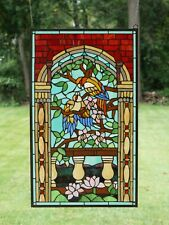 "Large Handcrafted stained glass window panel Love Bird Two Parrot 20.75"" x 35"""