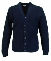 Relco Classic Retro Waffle Knit Navy CARDIGAN with Pockets