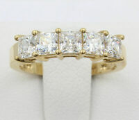2.50 Ct Princess Cut Diamond Five Stone Wedding Band Ring 14k Yellow Gold Over